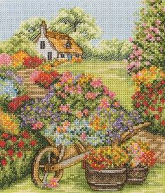 Anchor Cross Stitch Kit - Floral Wheelbarrow, Flowers - Stitching Crafts for All Designer: Anchor , Price: We sell cross stitch supplies online. Huge range of patterns, kits, fabrics and fibers. I'd never have the patience to finish something like th Cross Stitch House, Counted Cross Stitch Kits, Cross Stitch Charts, Cross Stitch Designs, Cross Stitch Patterns, Cross Stitching, Cross Stitch Embroidery, Elephant Balloon, Cross Stitch Landscape