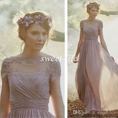 Cheap Vintage Bridesmaid Dresses with Short Sleeves Light Purple Chiffon A-Line Sheer Lace 2016 Evening Gowns Prom Maid of Honor Party Dress Online with $81.28/Piece on Sweet-life's Store | DHgate.com