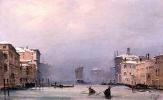 Ippolito Caffi (1814-1866), Snow and Fog on the Grand Canal (Nieve y Niebla en el Gran Canal), c.1840, Óleo/lienzo