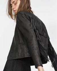 Image 5 of FRINGED LEATHER JACKET from Zara