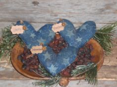 3 Primitive Patriotic Americana USA July 4 HEARTS Bowl Fillers Ornies Ornaments  #Handmade