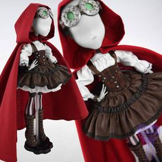 MONSTER Puppe Kleid Steampunk Red Riding Hood-Outfit