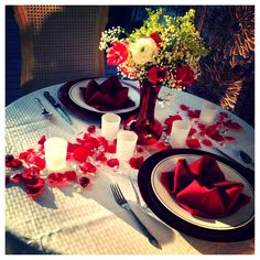 Romantic Valentine's Day table setting for two.