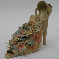 Linda Filley's gorgeous Watercolor Shoe is made of an antique wallpaper that has soft, autumnal tones. One of a kind.