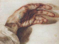 Théodore Géricault (1791-1824) La main gauche de l'artiste, 1823 Crayon noir, lavis de sanguine, crayon bleu - 23 x 29,7 cm Paris, collection particulière