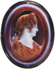 Agrippina the Younger, the daughter of Germanicus.  Sardonyx. Early 1st century. 4.4 × 3.5 cm.