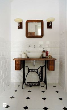 Singer sewing machine table up-cycled into a bathroom vanity unit. How cool is this? It looks amazing.