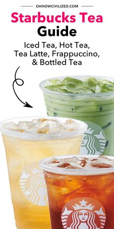 There's more to the Starbucks tea menu than you know! This guide filled with expert, tea sommelier tips will walk you through every tea drink offered on their menu. Click to read more. Green Tea Lemonade, Peach Green Tea, Starbucks Tea, Starbucks Recipes, Matcha Green Tea Latte, Matcha Green Tea Powder, Hot Tea Recipes, Cat Recipes, Drink Recipes