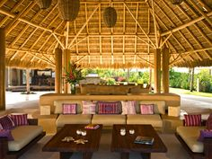 Location: This six-bedroom, six-bathroom Mexican villa is a personal favorite of actress and wellness guru Gwyneth Paltrow, another Punta Mita fan who took her family on vacation there in January. Punta Mita, Cabana, Mansion Homes, Rustic Pergola, Diy Pergola, Pergola Kits, Pergola Ideas, Casa Patio, Bamboo House