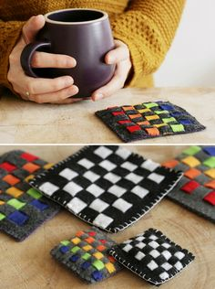 DIY Rainbow Woven Felt Coasters - These look so easy and beautiful - Henry Happened Crafts To Do, Felt Crafts, Fabric Crafts, Sewing Crafts, Crafts For Kids, Arts And Crafts, Felt Coasters, Diy Coasters, Table Coasters