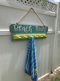 Beach Decor Beach Towel Rack, Beach Towel Hooks, Beach Towel Holder, Pool Towel Rack, Pool To… – Cute and Trend Towel Models Pool Towel Hooks, Pool Towel Holders, Pool Towels, Backyard Signs, Backyard Beach, Pool Signs, Outdoor Beach Decor, Backyard Ideas, Outdoor Pool