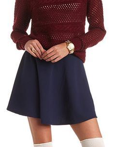 High-Waisted Textured Skater Skirt: Charlotte Russe