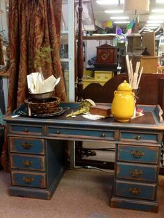 "Awesome desk painted with Pigeon Blue Farmhouse Paint. Do you have our old desk? this might be awesome for your 'man cave"" Salvaged Furniture, Hand Painted Furniture, Painting Furniture, Farmhouse Paint Colors, Paint Colors For Home, Furniture Makeover, Furniture Refinishing, Furniture Ideas, Real Milk Paint"