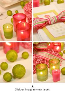 I like the colored votive candle holders. Imagine them in orange and yellow.