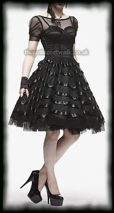 Hell Bunny Black Satin & Fishnet Prom Party Dress