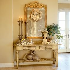 Love this look.  A mirror on the wall makes a small room appear larger,