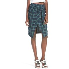 J.O.A. Plaid Tie Front Skirt (£45) ❤ liked on Polyvore featuring skirts, navy, navy blue cotton skirt, navy blue skirt, white plaid skirt, tie skirt and plaid skirt