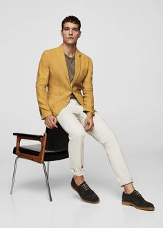 879990146d06 Mango Slim-Fit Linen Blazer - Men | Man Sand 36 Casual Blazer, Yellow