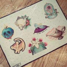 Disney tattoo flash sheet