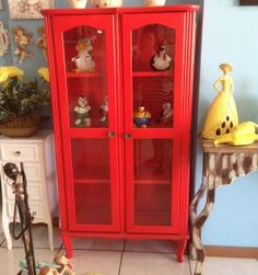 cristaleira vintage vermelha