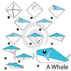 Schrittweise Anweisungen, wie man Origami einen Wal macht