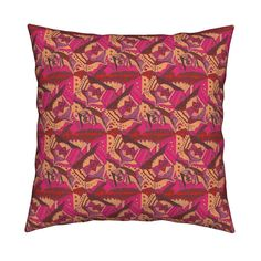 Catalan Throw Pillow featuring TRICHROMOTIC DELIRIUM PEACH ROSE by paysmage | Roostery Home Decor