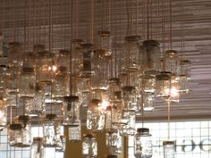 mason jar pendant lamps. not sure where these would go, but... LIKE!
