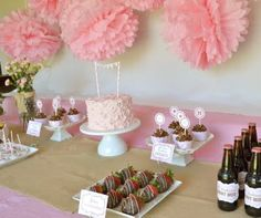 vintage cowgirl birthday party pink dessert buffet table