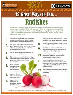 Radishes add texture and brightness to all kinds of dishes. With only 9 calories in a half-cup serving of sliced radishes, they are an easy, healthy way to season food without heavy use of salt. Health Benefits Of Radishes, Vegetable Benefits, Benefits Of Vegetables, Vegetarian Benefits, Healthy Liver, Healthy Skin, Mediterranean Diet Recipes, Health Eating, Food Facts