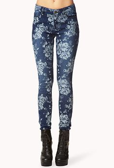 Brocade Floral Skinny Jeans | FOREVER21 - Flower print Dark wash jeans. Pretty! Don't like as much as the others tho