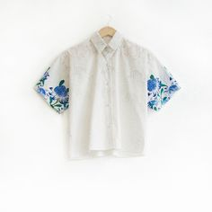 Blue Waratah Degrade shirt by Julie White