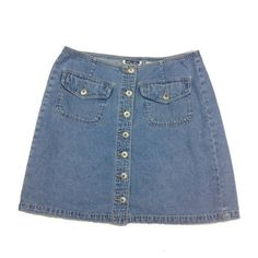 Vintage Denim Button Up Skirt ($10) ❤ liked on Polyvore featuring skirts, bottoms, denim, button down skirt, vintage skirts, button up skirt, knee length denim skirt and blue skirt