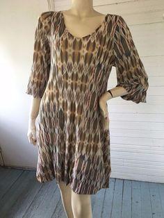 Giselle Shepatin Ikat Print Mesh Bubble Hem Dress or Tunic Lagenlook Boutique M #GiselleShepatin #Bubble #Versatile