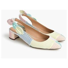 Slingback bow pumps (40mm) in mixed seersucker : Women Heels | J.Crew ($148) ❤ liked on Polyvore featuring shoes, pumps, mid-heel pumps, seersucker shoes, mid heel pumps, j crew pumps and sling back shoes
