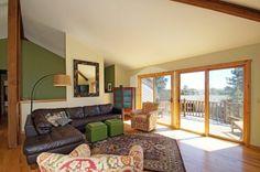 green wall, wood floors