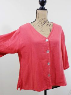 ART TO WEAR Lagenlook Oh My Gauze jacket artsy top coral quirky crinkled 1 S M #OhMyGauze #BasicJacket #Formal