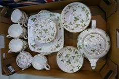 Auction of 20th Century British Pottery, collectors items, household items, antique and quality furniture – Lot 280A – A collection of Wedgwood Wild Strawberry tea and dinner ware to include teapot, cups, saucers, sugar bowl, dessert dishes etc (28)