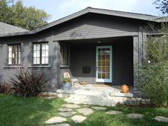 Dark gray with Tiffany blue door - modern - exterior - los angeles - Natalie Myers