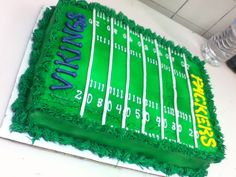 Viking vs Packer football field cake - Vikings vs Packer football field cake 1/4 chocolate sheet cake frosted and decorated in buttercream,the field was airbrushed green www.facebook.com/cakes.sweettooth