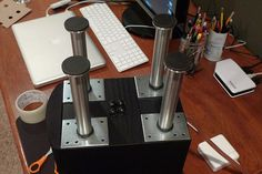 I had a co-worker give me a single pack of 6 CAPITA stands, so I bought another and used them as speaker stands for my Paradigm Atom speakers. Desktop Speakers, Diy Speakers, Desk Plans, Speaker Stands, Tech Gadgets, Espresso Machine, Coffee Maker, Ikea, Clock