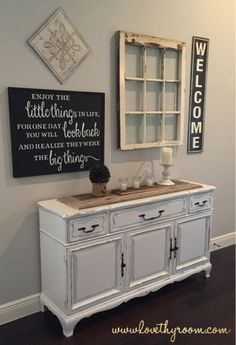 Love Thy Room: Antique Window, Vintage China Hutch and Reclaimed Barn Wood FoyerProject, also loving the window idea!