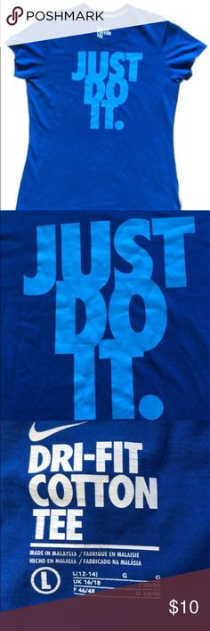 Nike Just Do It Shirt Blue Yesterday you said tomorrow.  Large, blue Just Do It Nike shirt Condition: Good preowned, has a couple of faint spots on the front that aren't really noticeable. Comes from a cat friendly, smoke free home. My items are kept where cats can't access, but I do pet them so a stray hair is possible. I ship next business day M-F. I love offers through the Make Offer button! Nike Tops Tees - Short Sleeve