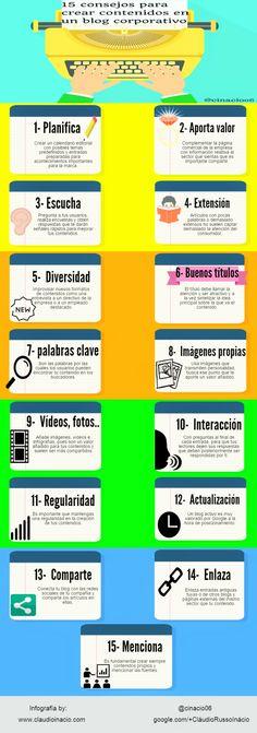 15 consejos para crear contenidos en un blog corporativo #infografia #marketing #socialmedia