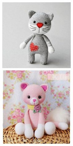 Crochet Cat Pattern, Crochet Amigurumi Free Patterns, Crochet Teddy, Crochet Animal Patterns, Stuffed Animal Patterns, Cute Crochet, Crochet Dolls, Crochet Cat Toys, Loom Patterns