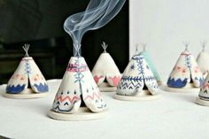Ceramic Incense Burner TeePee that smokes, Blue, White, and Coral, Native…