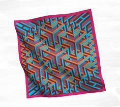 "Carré Cube Hermès silk twill scarf, hand rolled, 36"" x 36"" Ref. H002781S 07 AW2013"