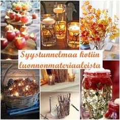 Fall decor DIY Syksy sisustus Mollie Makes, Rustic Fall Decor, Hygge, Natural Materials, Decor Styles, Diy And Crafts, Autumn, Seasons, Table Decorations