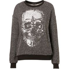 Foil Skull Sweat (85 CAD) ❤ liked on Polyvore featuring tops, hoodies, sweatshirts, sweaters, jumper, shirts, women, shirt top, skull print shirt and foil shirt