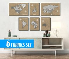 WORLD MAP SET of 6 frames  World Travel MapWorld Map by ArchTravel