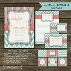 Chevron Baby Shower Invitation Coral Teal Gray by Thirteen20Five
